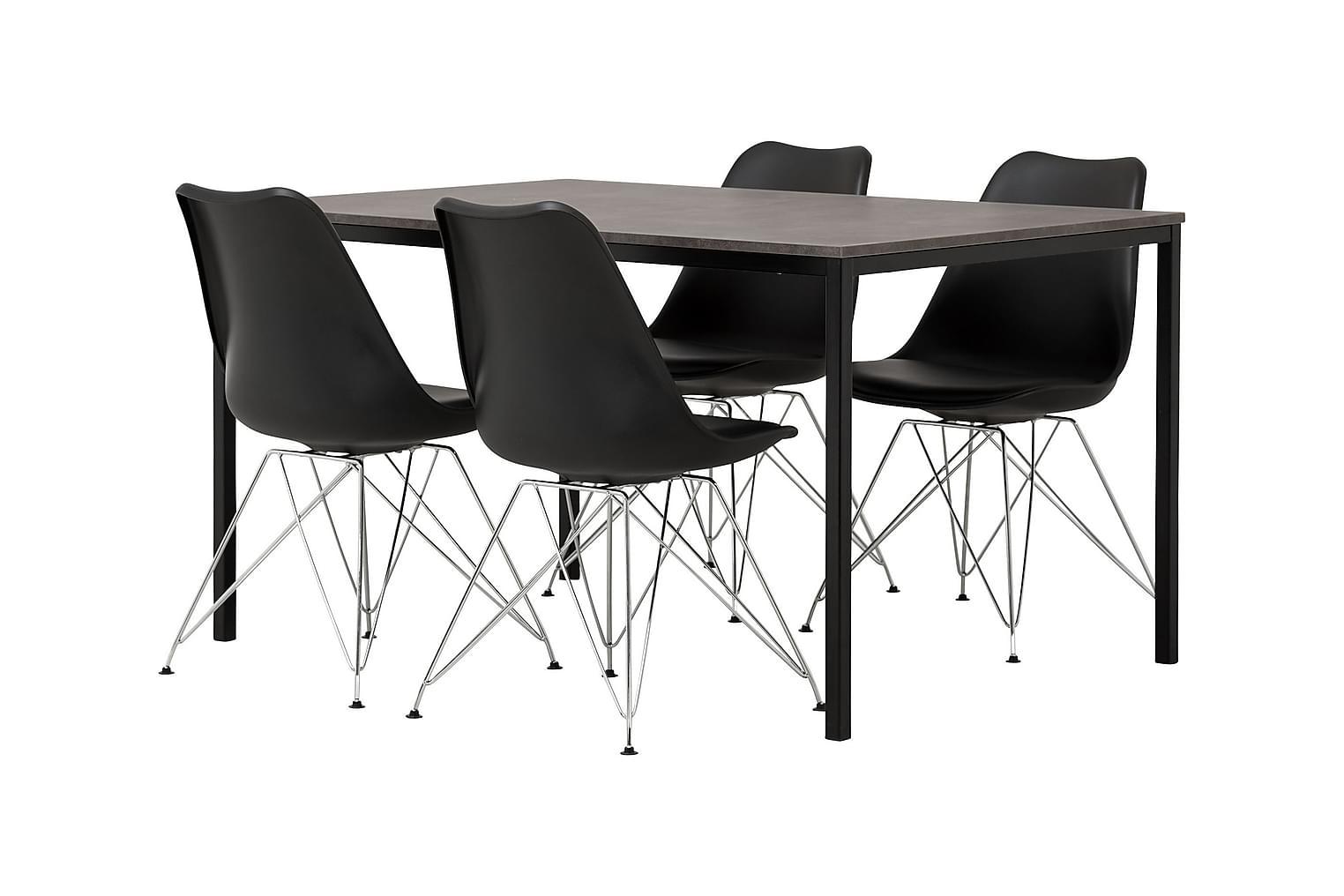 NOOMI Pöytä 138 Harmaa/Musta+ 4 SHELLO Tuolia Musta/Kromi
