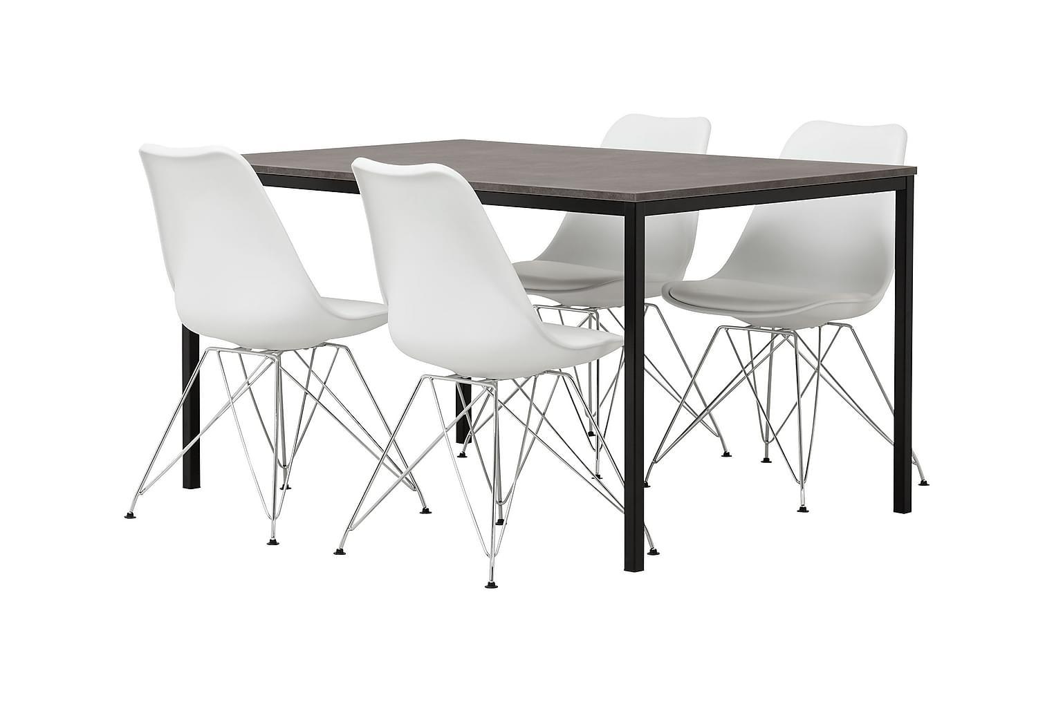 NOOMI Pöytä 138 Harmaa/Musta+ 4 SHELLO Tuolia Valkoinen/Krom