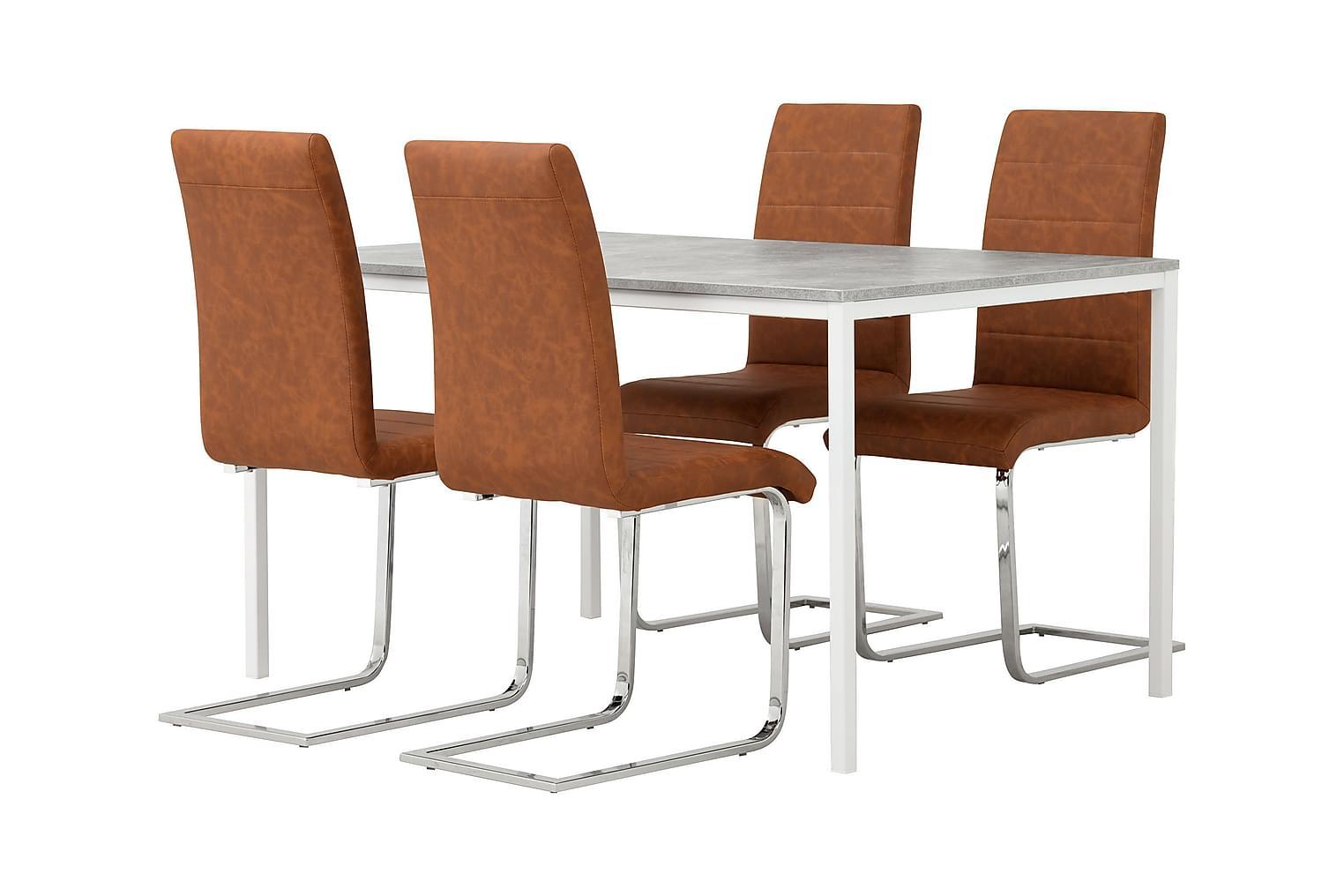 NOOMI Pöytä 138 Harmaa/valkoinen+ 4 EMÅN Tuolia Antiikinrusk