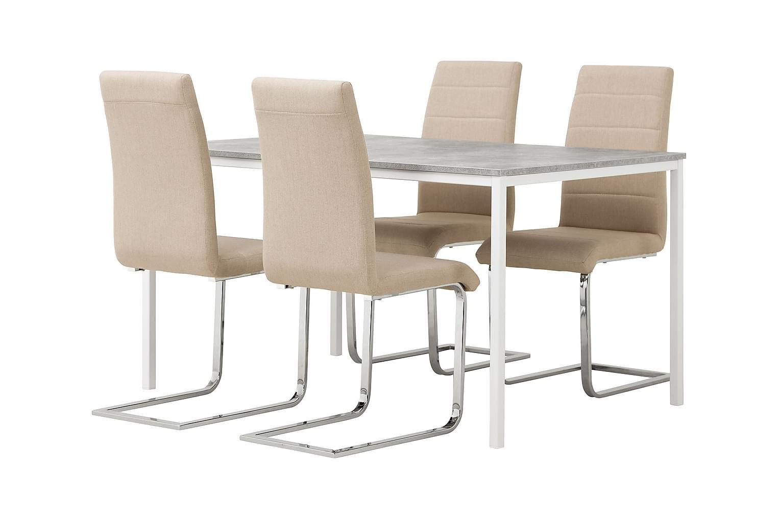 NOOMI Pöytä 138 Harmaa/valkoinen+ 4 EMÅN Tuolia Beige