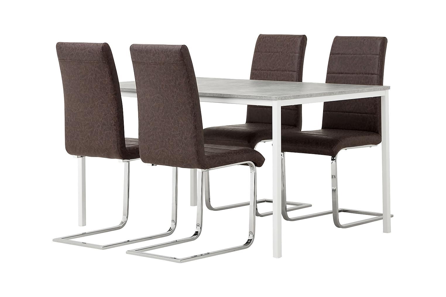 NOOMI Pöytä 138 Harmaa/valkoinen+ 4 EMÅN Tuolia Tumma Antiik