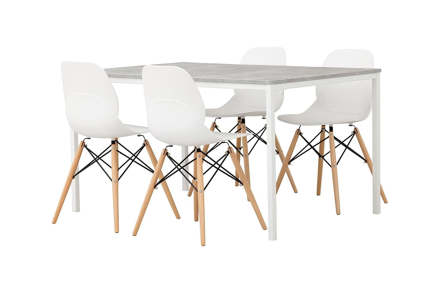 NOOMI Pöytä 138 Harmaa/valkoinen+ 4 RANA Tuolia Valkoinen/Pu