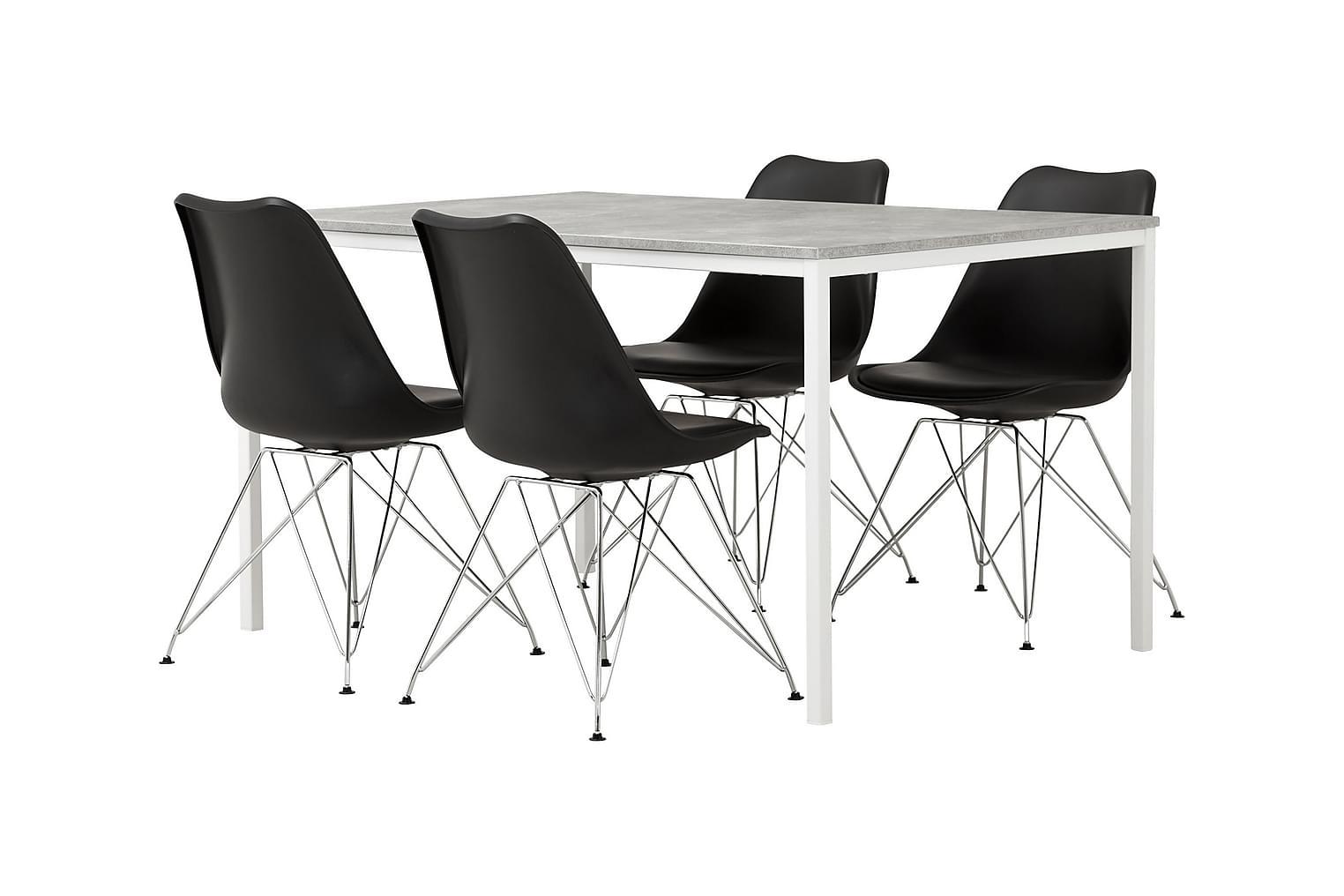 NOOMI Pöytä 138 Harmaa/valkoinen+ 4 SHELLO Tuolia Musta/Krom