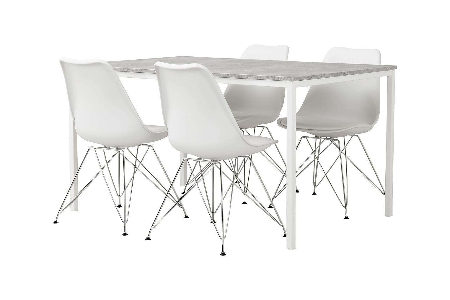 NOOMI Pöytä 138 Harmaa/valkoinen+ 4 SHELLO Tuolia Valkoinen/