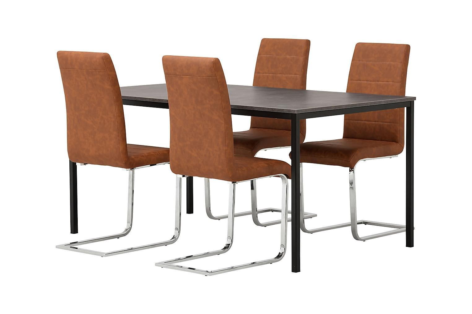 NOOMI Pöytä 158 Harmaa/Musta+ 4 EMÅN Tuolia Antiikinruskea