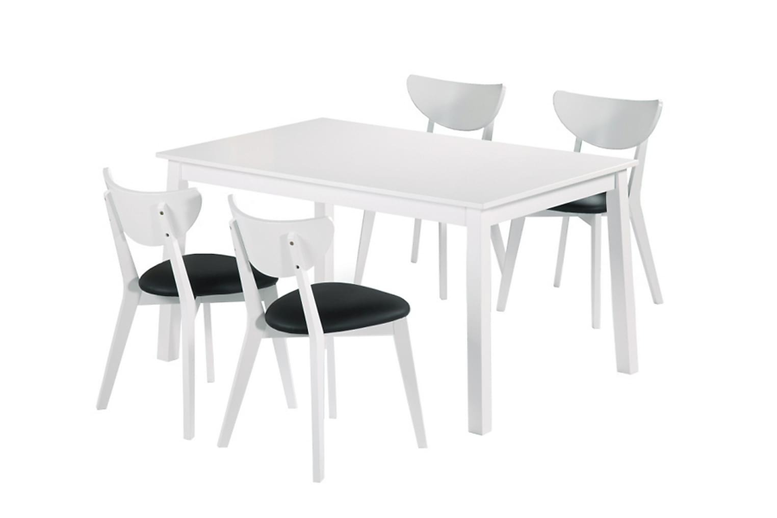 NORDQVIST Pöytä 140 + 4 Tuolia Valkoinen