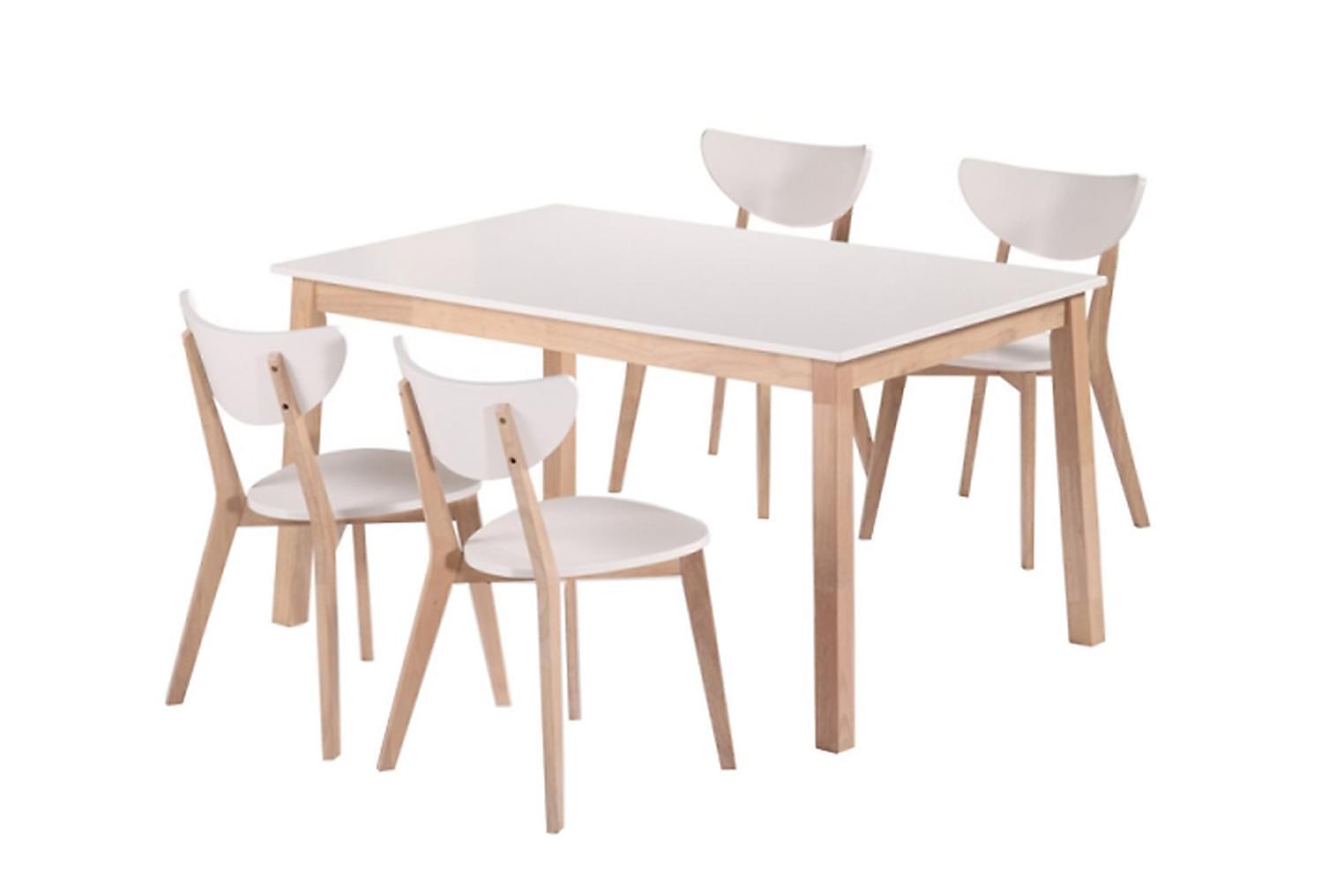 NORDQVIST Pöytä 140 Valkoinen + 4 Tuolia Luonnonvärinen/Valk