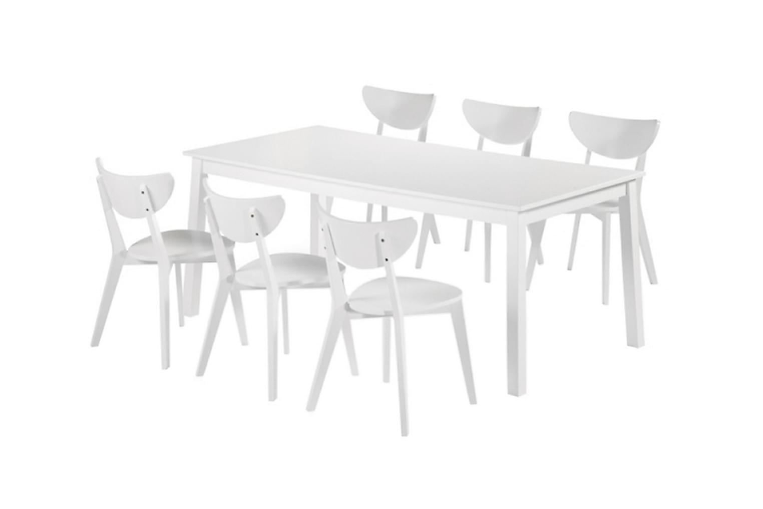 NORDQVIST Pöytä 180 + 6 Tuolia Valkoinen