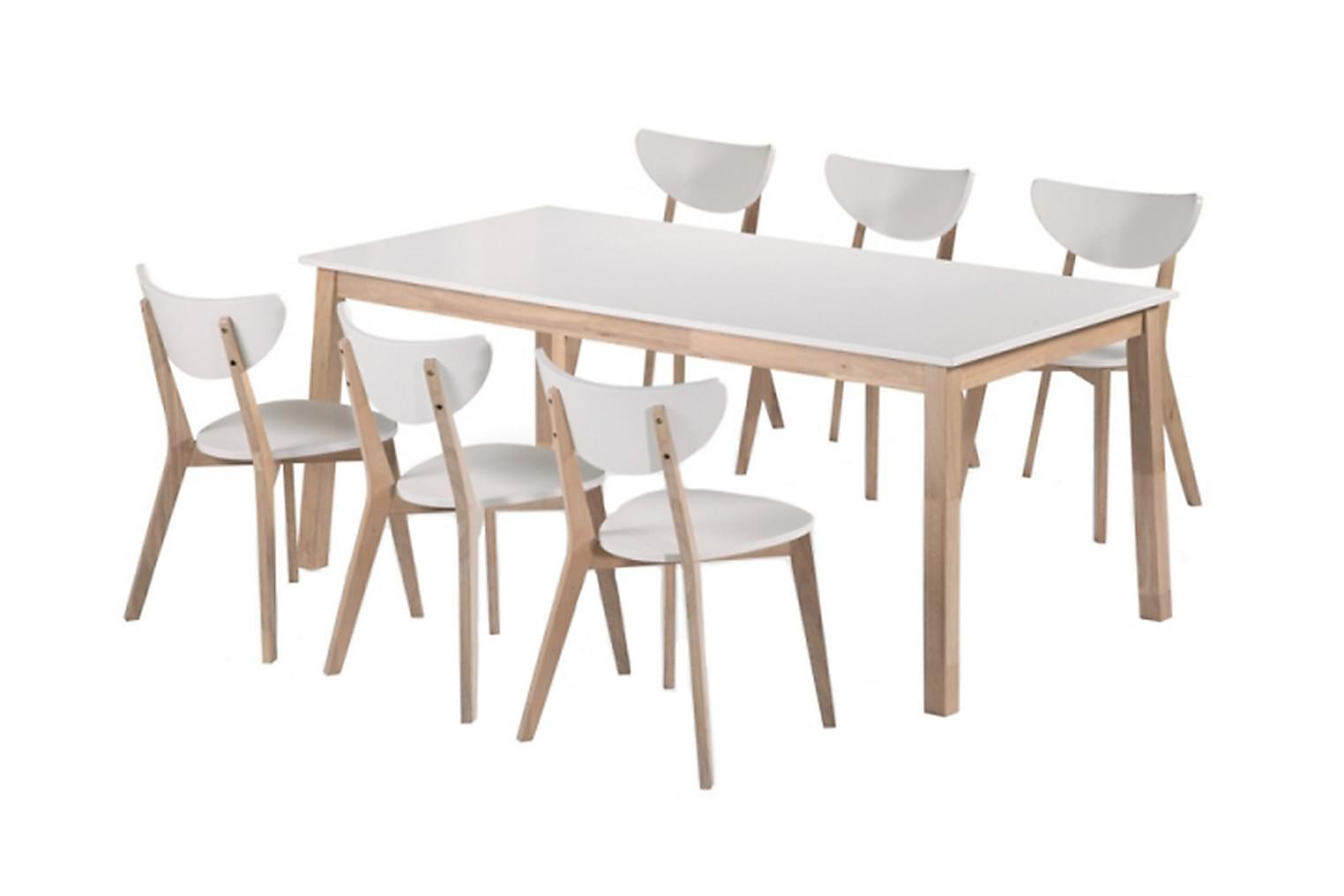 NORDQVIST Pöytä 180 Luonnonvärinen/Valkoinen + 6 Tuolia Luon