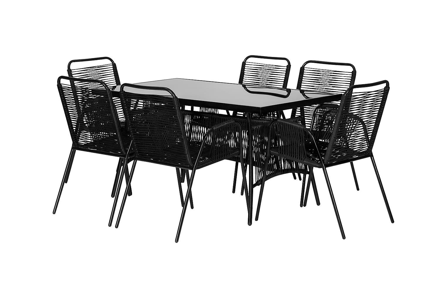 RIBSTON Pöytä 140 + 6 Tuolia Musta