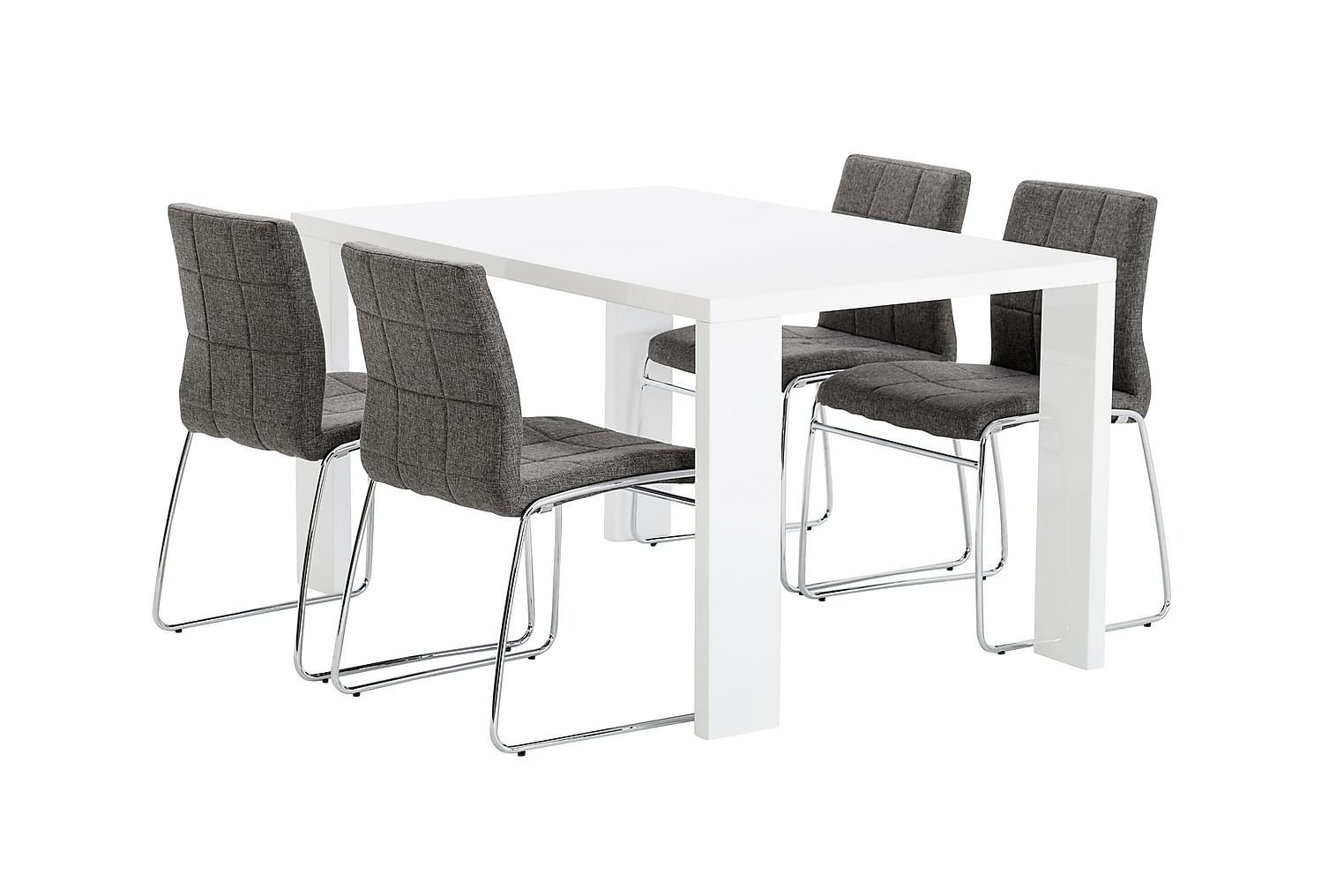 RÖNNE Pöytä 140 Valkoinen + 4 VISKAN Tuolia Harmaa