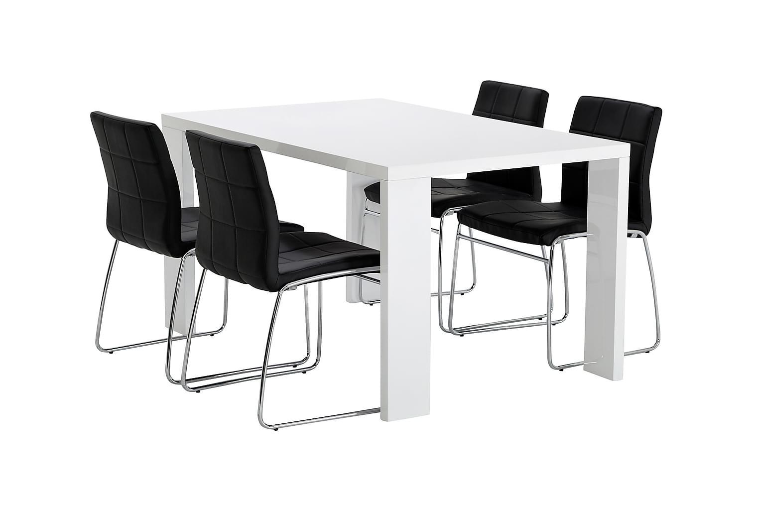 RÖNNE Pöytä 140 Valkoinen + 4 VISKAN Tuolia Musta