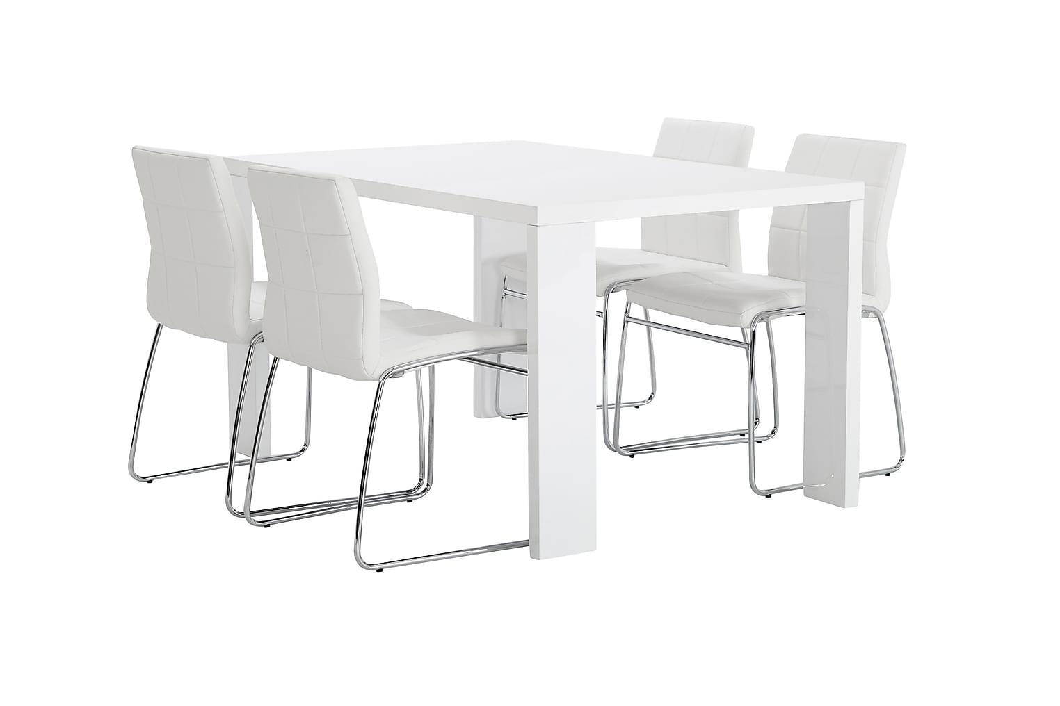 RÖNNE Pöytä 160 Valkoinen + 4 VISKAN Tuolia Valkoinen