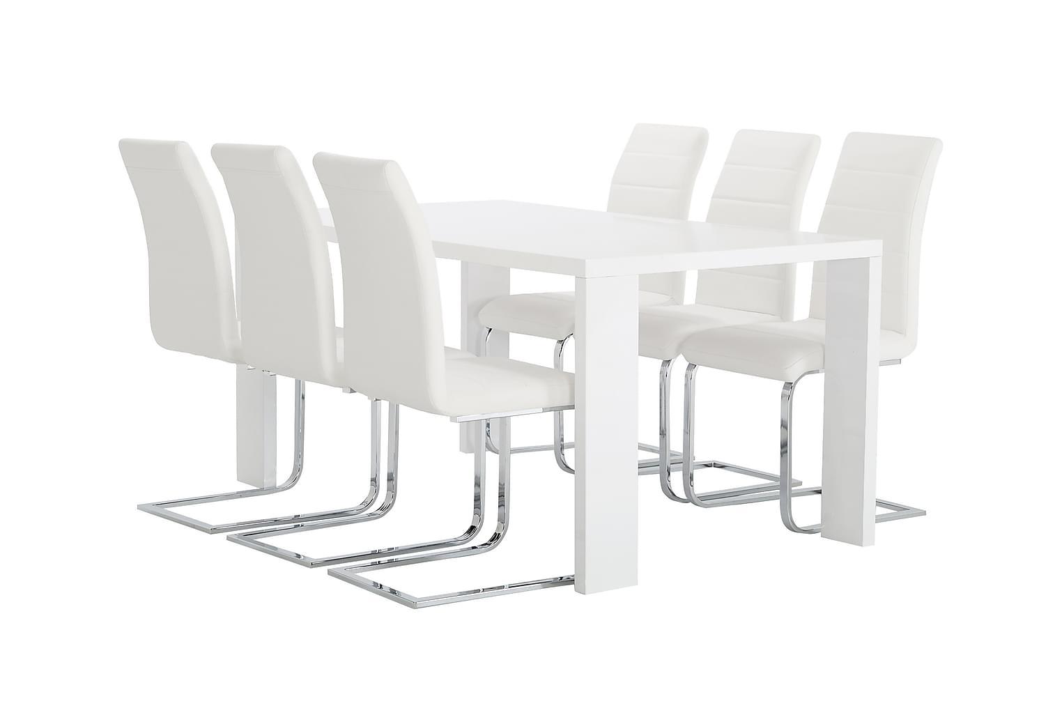 RÖNNE Pöytä 160 Valkoinen + 6 EMÅN Tuolia Valkoinen
