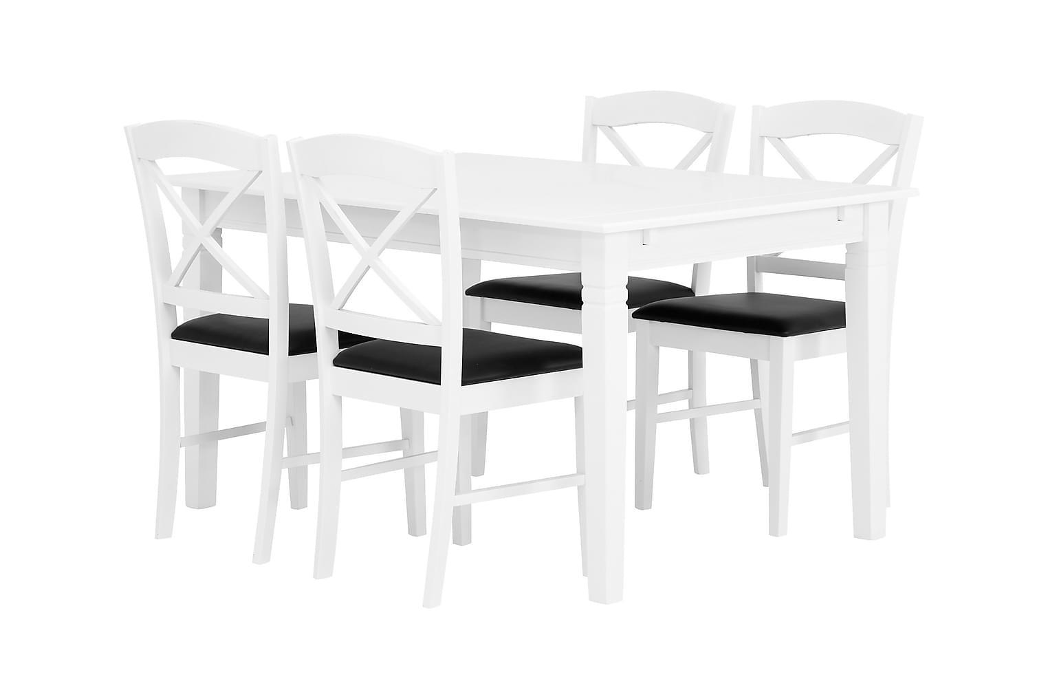 SJÖVIK Pöytä 140 + 4 BRÖMSEBO Tuolia Valkoinen/Musta