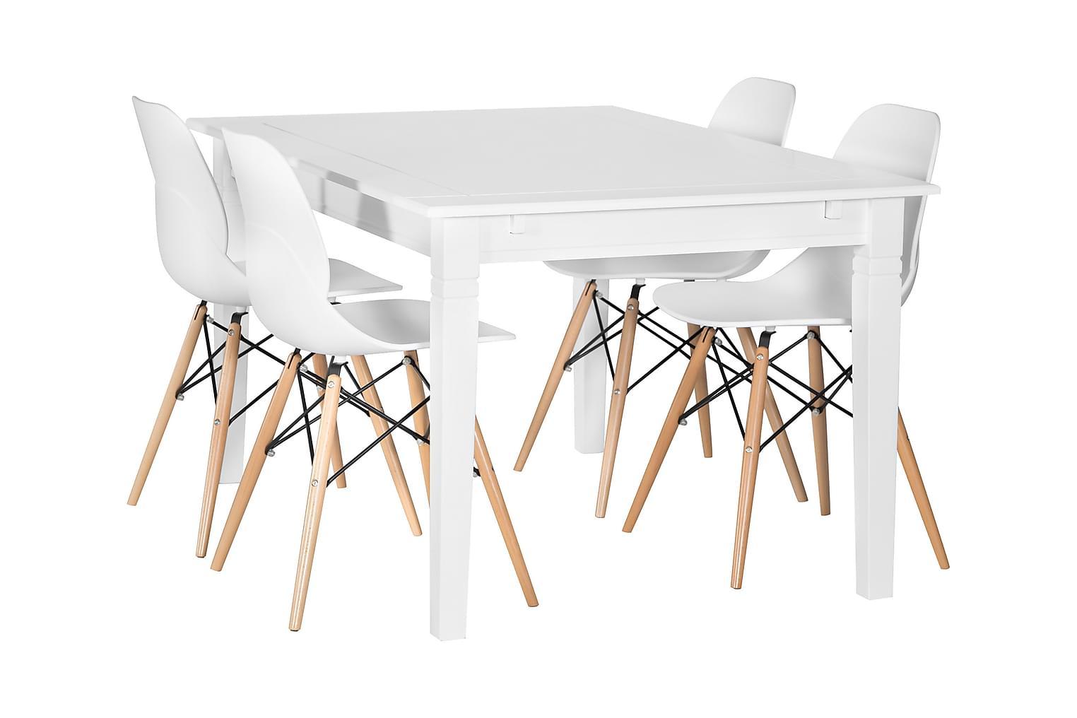 SJÖVIK Pöytä 140 + 4 RANA Tuolia Valkoinen/Puujalat
