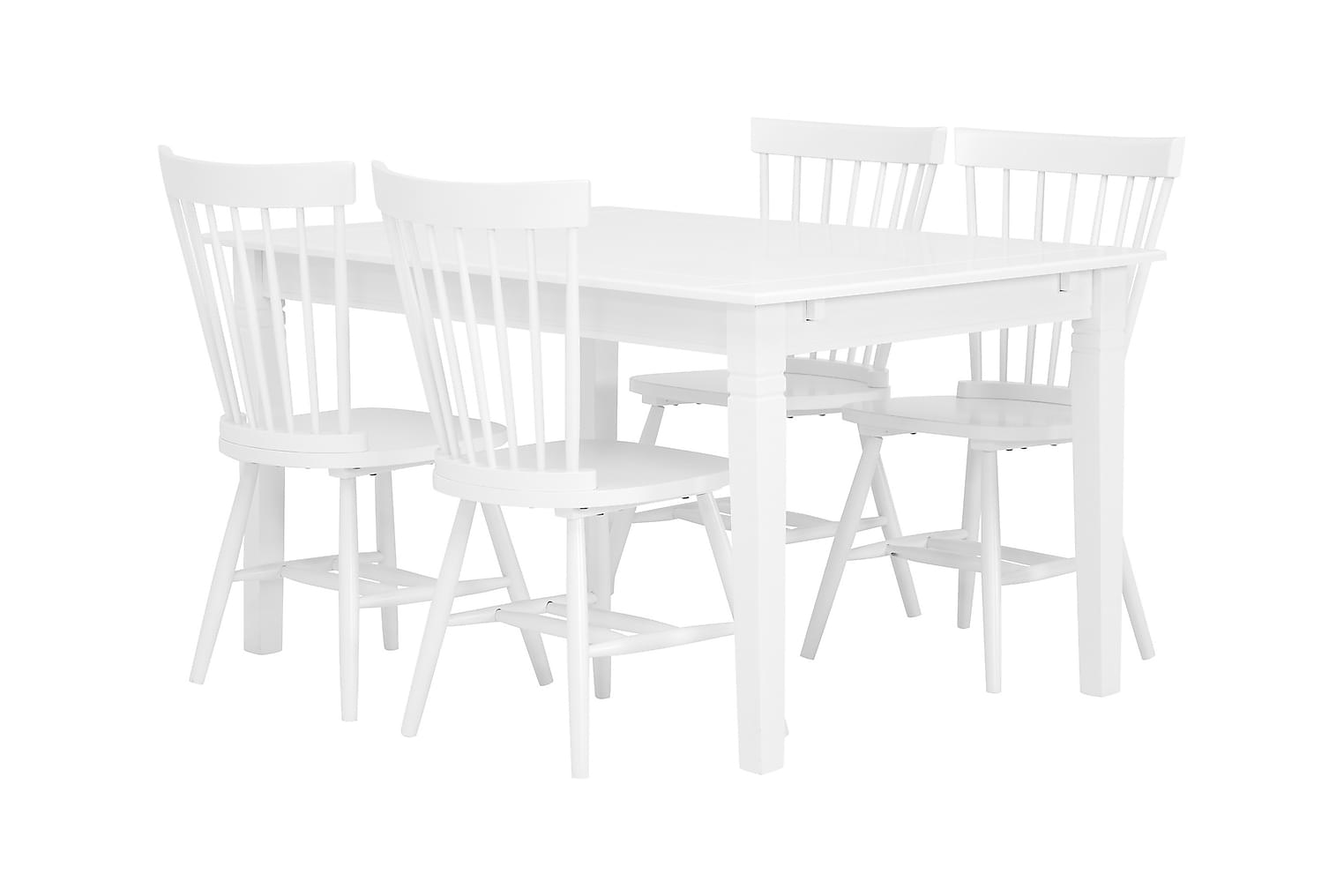 SJÖVIK Pöytä 140 + 4 SUND Tuolia Valkoinen