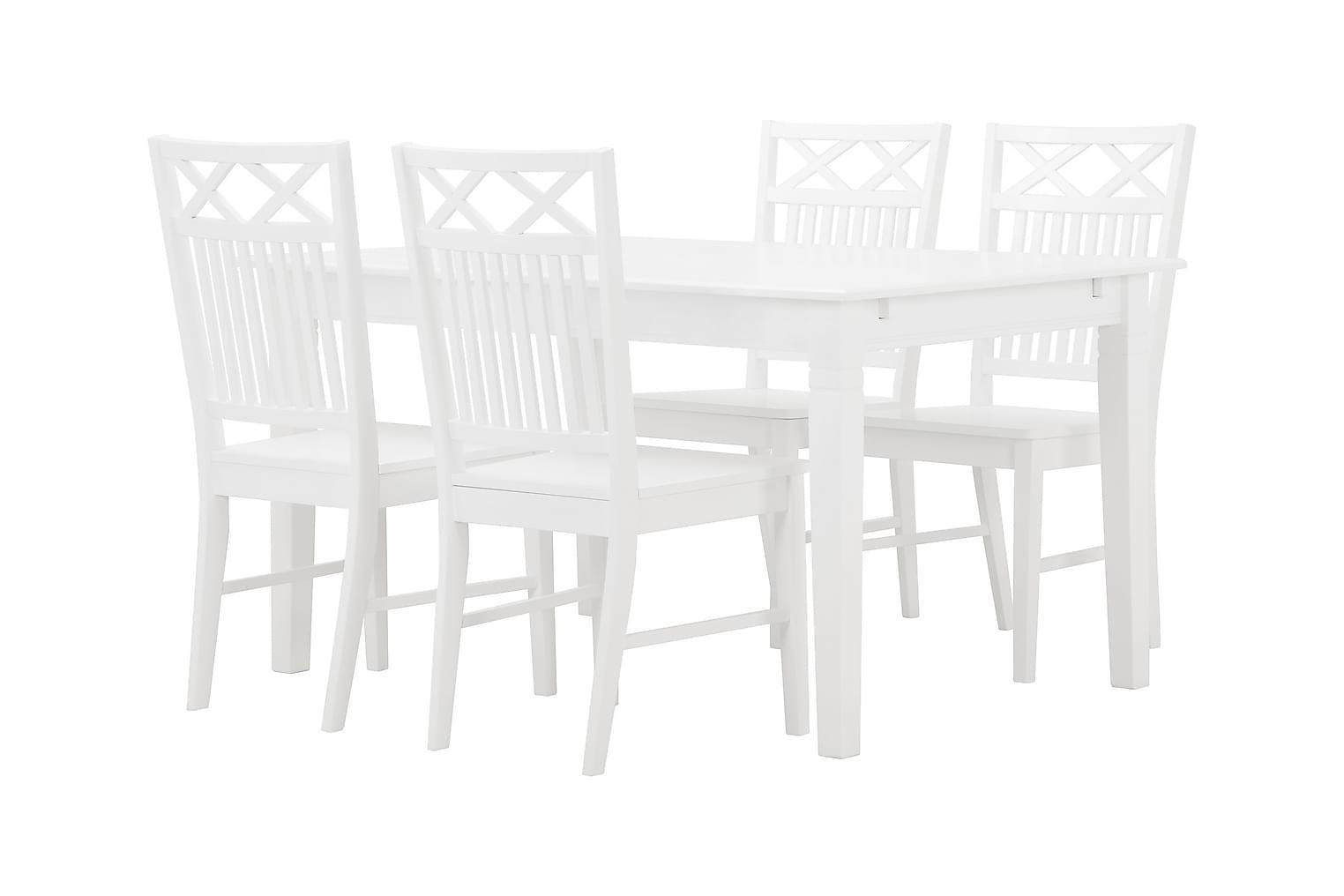 SJÖVIK Pöytä 140 + 4 Tuolia Valkoinen