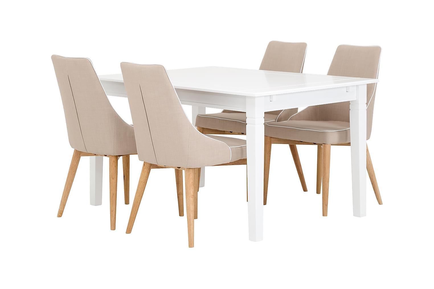 SJÖVIK Pöytä 140 Valkoinen + 4 ALLY Tuolia Beige