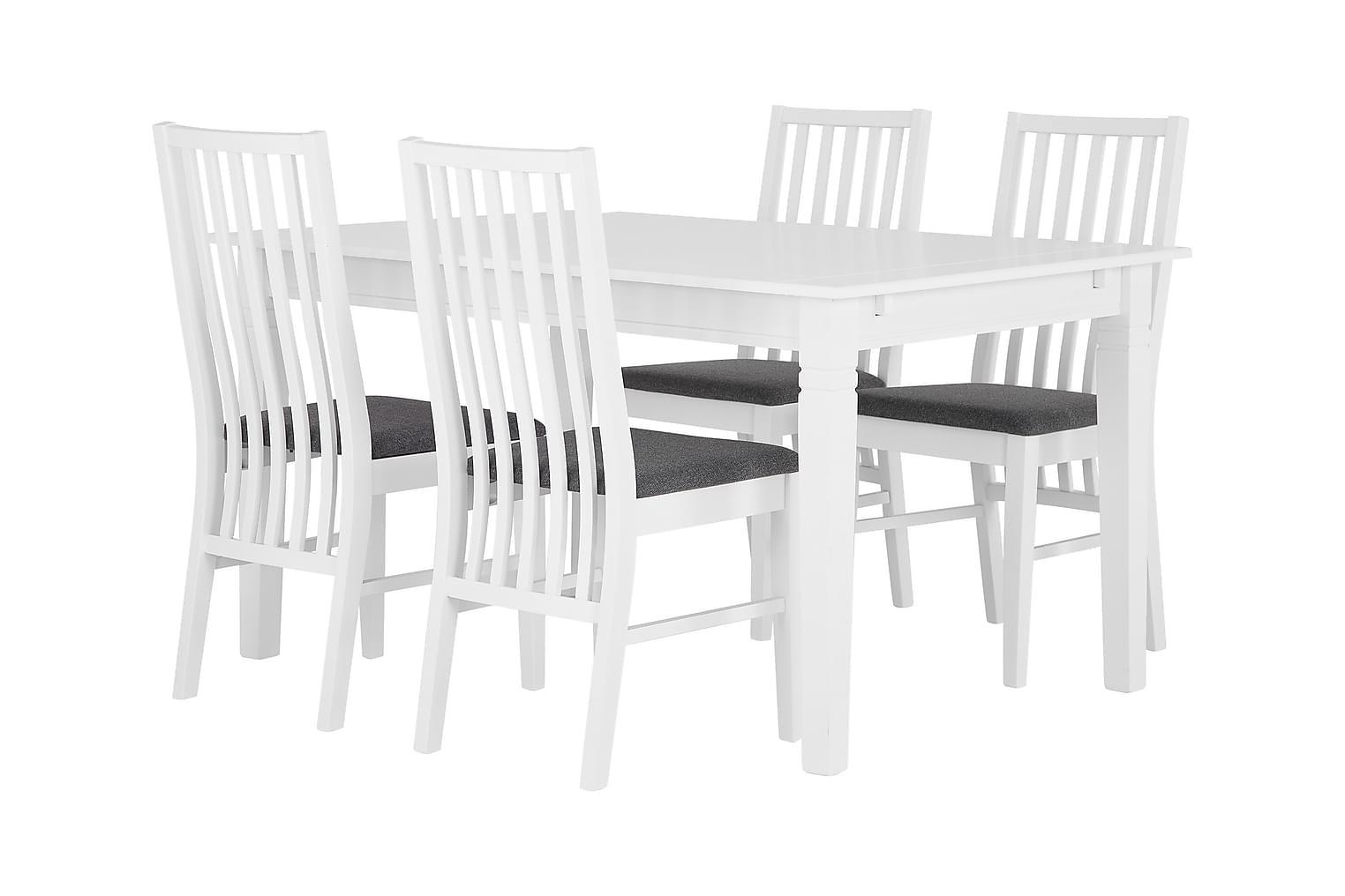 SJÖVIK Pöytä 140 Valkoinen + 4 ALVESTA Tuolia Valkoinen/Harm
