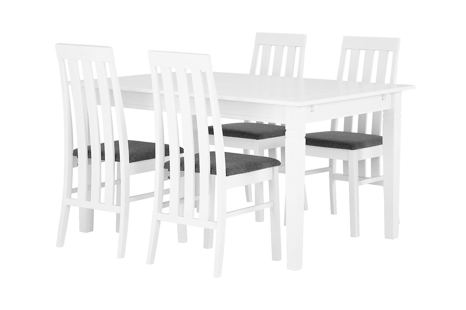 SJÖVIK Pöytä 140 Valkoinen + 4 BORGHOLM Tuolia Valkoinen/Har
