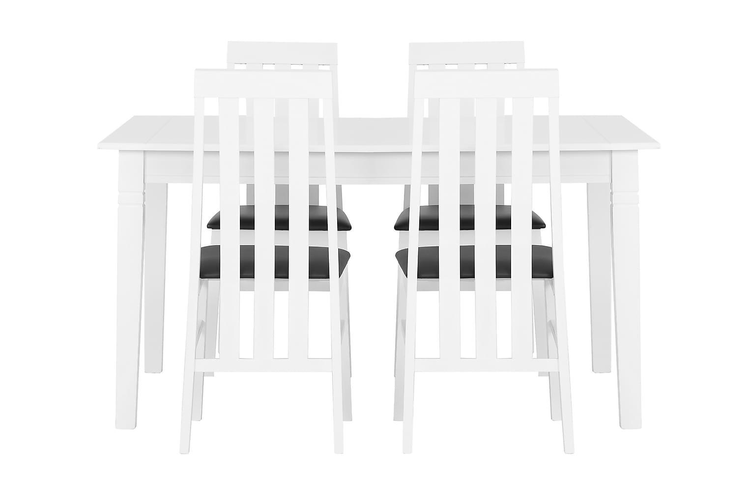 SJÖVIK Pöytä 140 Valkoinen + 4 BORGHOLM Tuolia Valkoinen/Mus