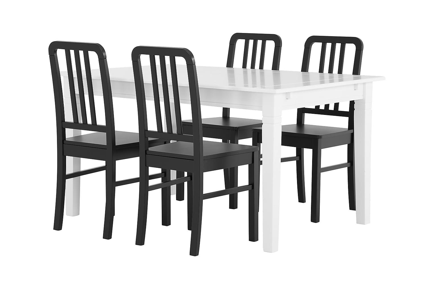 SJÖVIK Pöytä 140 Valkoinen + 4 EVELINA Tuolia Musta