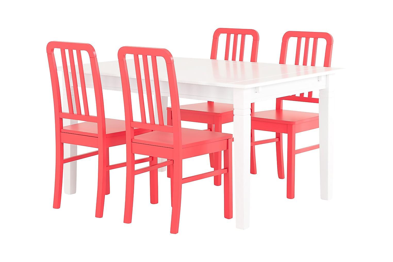 SJÖVIK Pöytä 140 Valkoinen + 4 EVELINA Tuolia Punainen