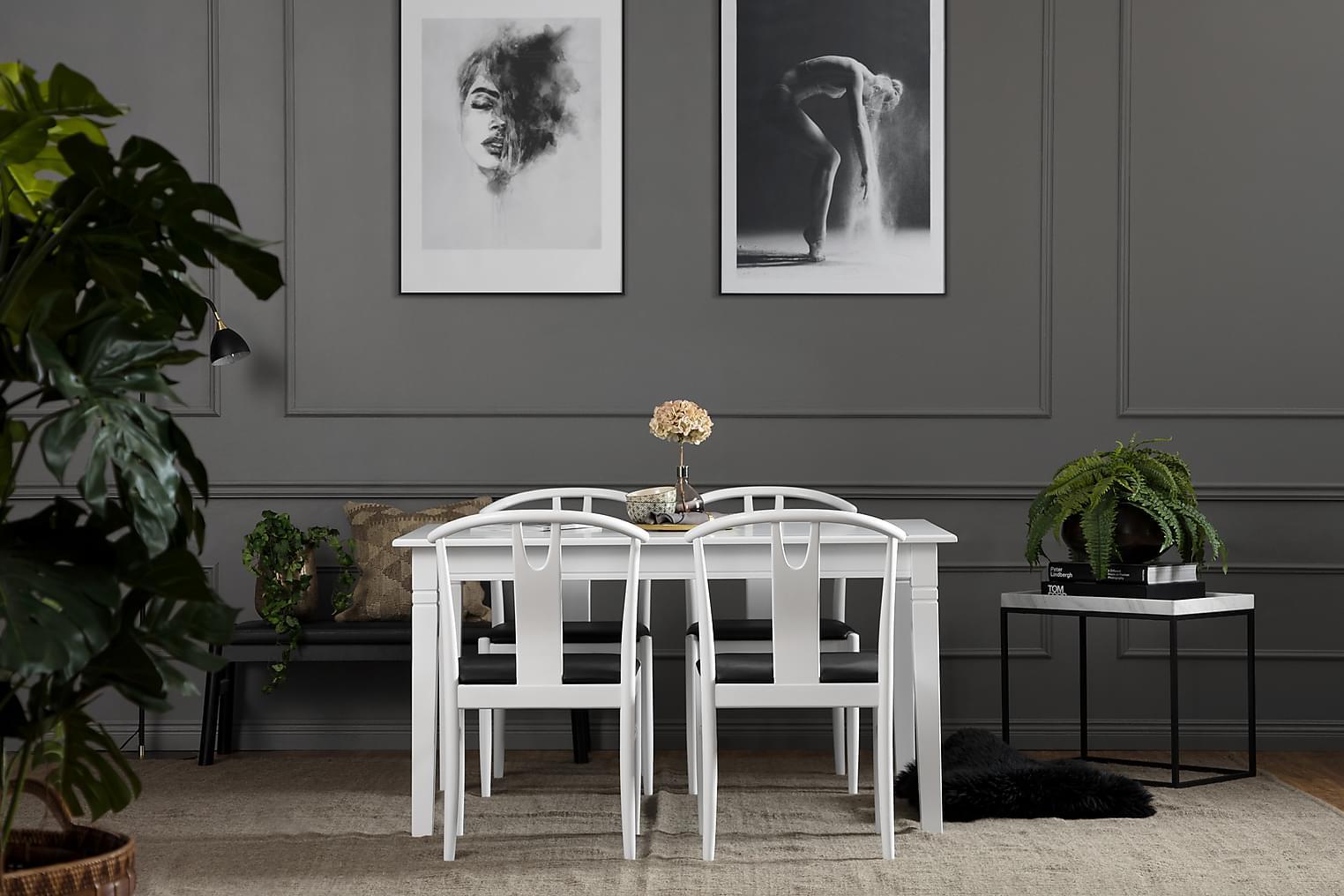 SJÖVIK Pöytä 140 Valkoinen + 4 HUGO Tuoli Valkoinen/Musta
