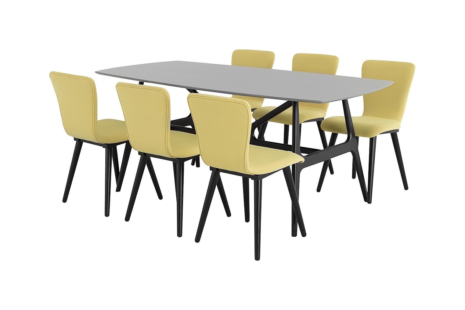 WEBSTER Pöytä 180 Harmaa + 6 MILLER Tuolia Musta/Lime