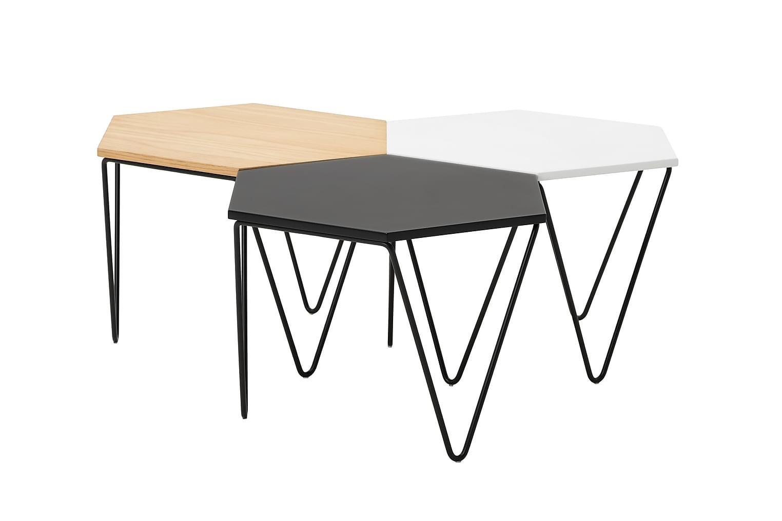 CAROL Sohvapöytä 60 3-paketti Tammi/Musta