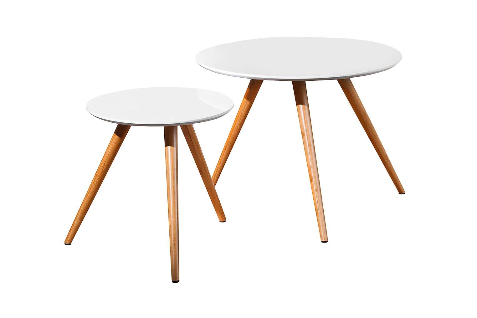 MELODY Sarjapöytä Pyöreä Valkoinen/Bambu