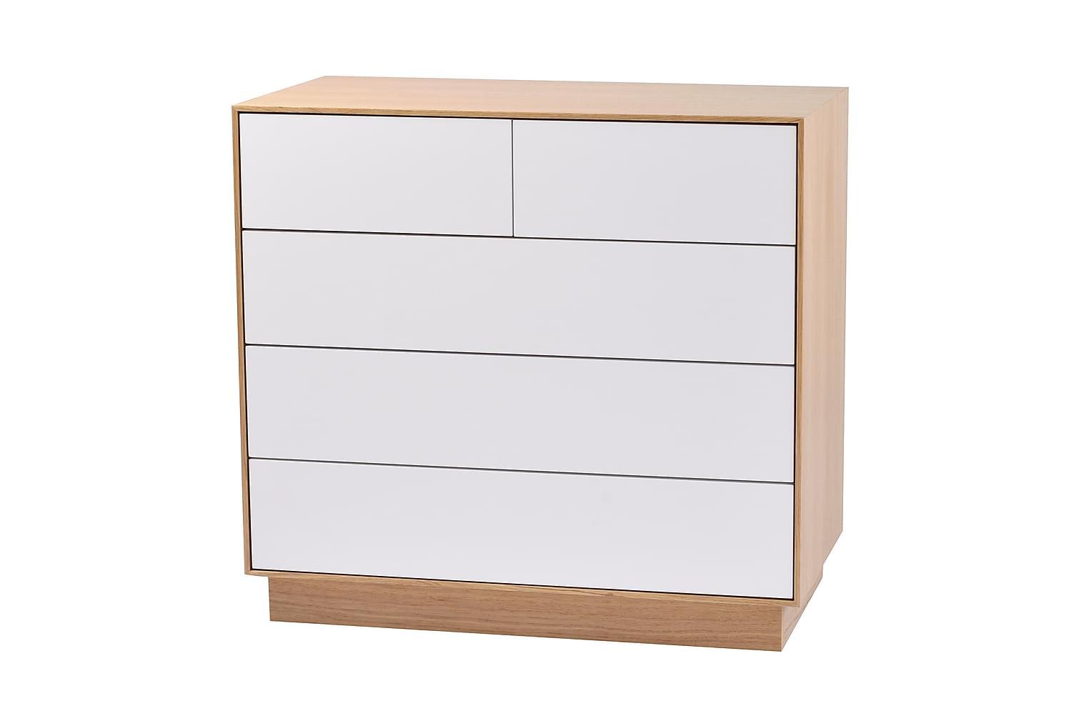 BOYD Lipasto 5 laatikolla Tammi/valkoinen
