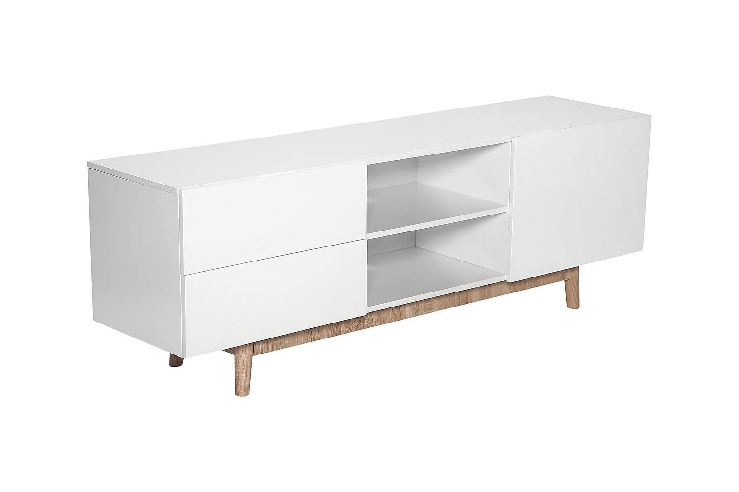 BERGSUND TV-taso 160 Valkoinen/Tammi
