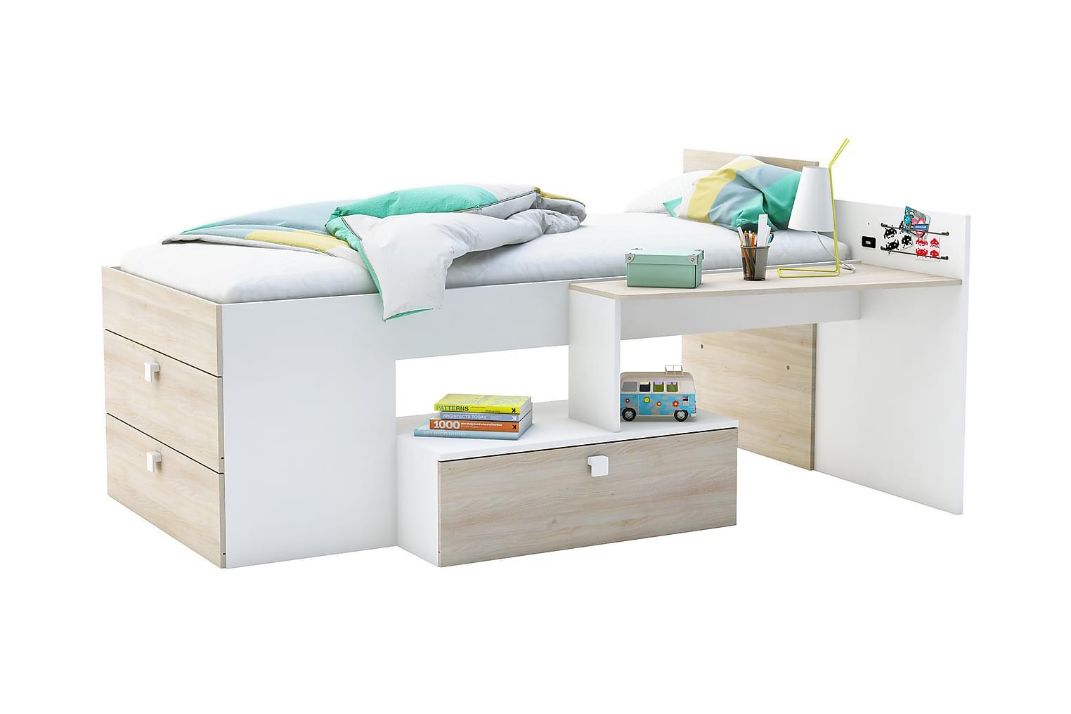 MOVITZ Sängynrunko kirjoituspöydällä 90x190 Valkoinen/Akaasi