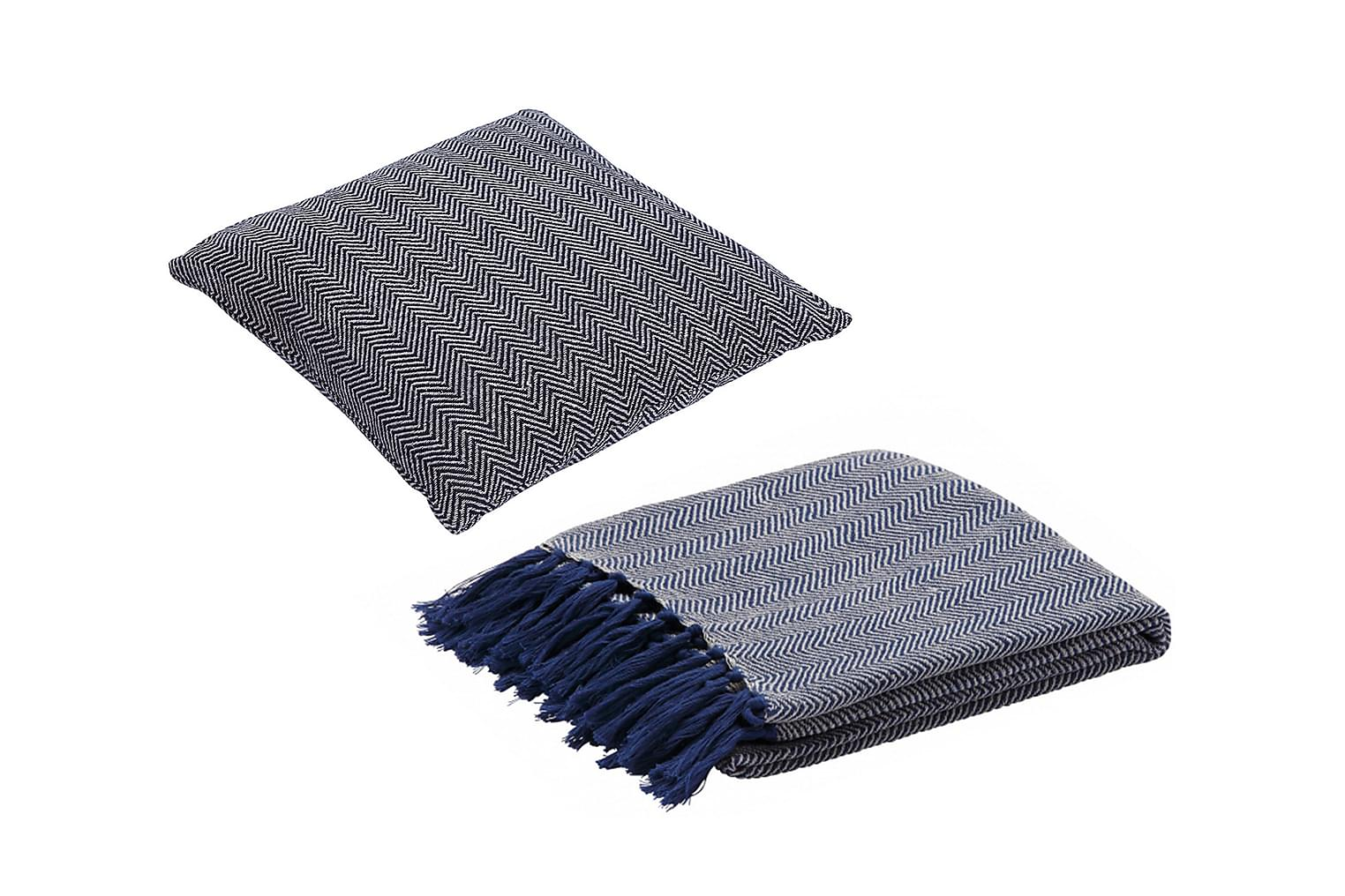 FISHBONE 2 Tyynynpäällinen + Peitto Sininen/Luonnonväri
