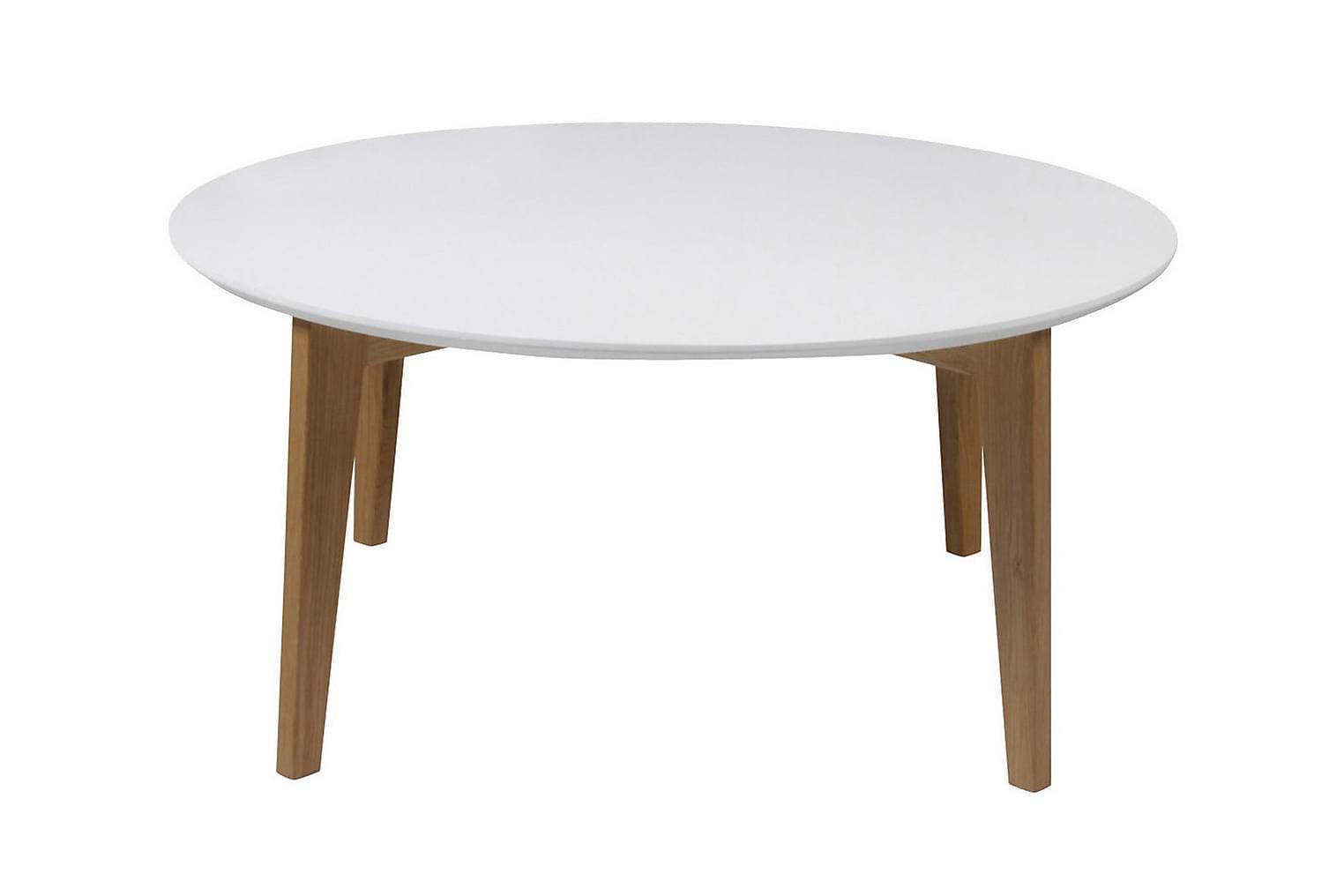 ALBASS Sohvapöytä 90 Valkoinen/tammi