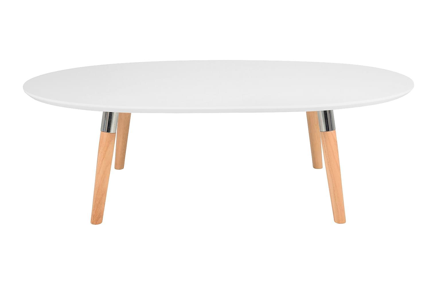 BELLTON Sohvapöytä 135 Valkoinen/Puujalat
