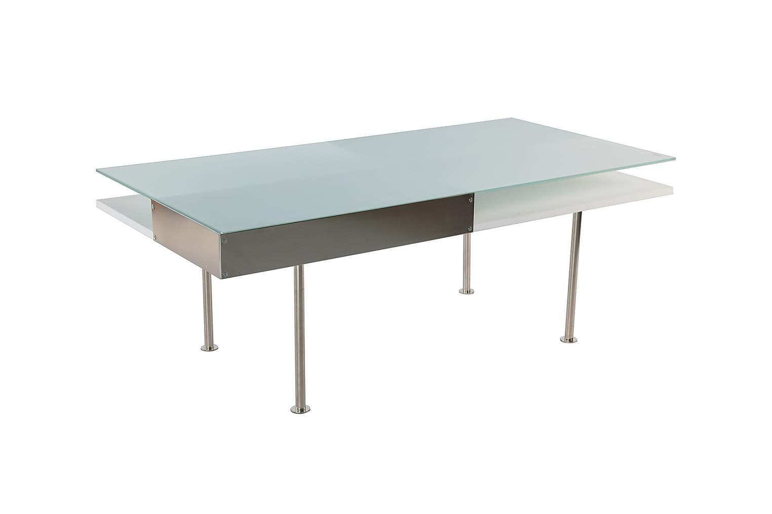 FRANK Sohvapöytä 130 Tammiviilu Valkoinen/lasi