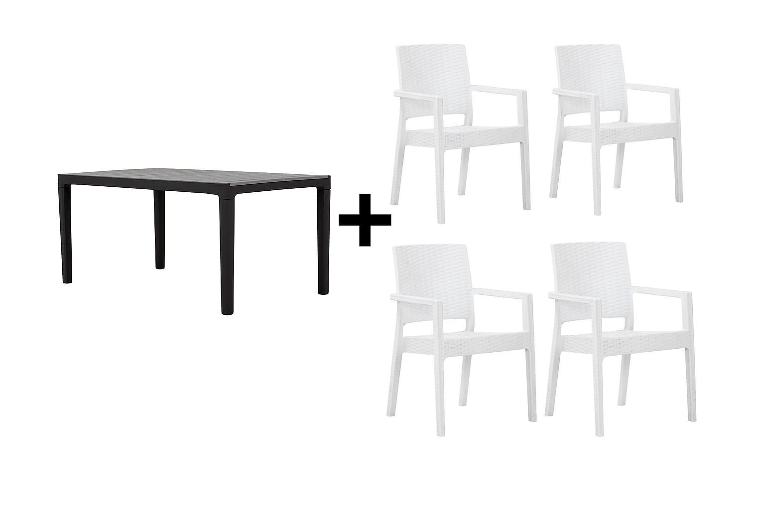 BILBAO Pöytä 160 Harmaa/Musta + 4 LEORA Karmituolia Valkoine
