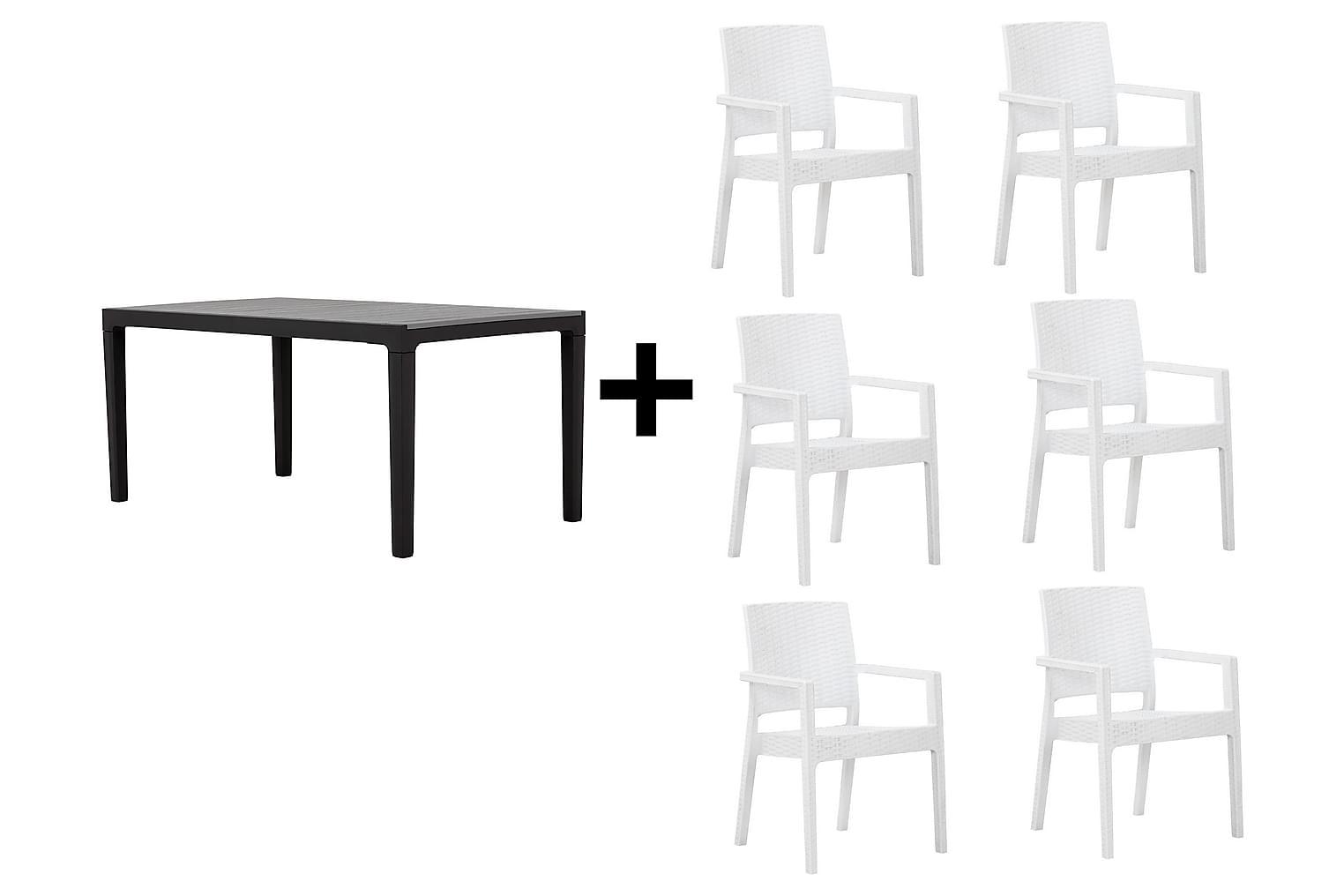 BILBAO Pöytä 160 Harmaa/Musta + 6 LEORA Karmituolia Valkoine