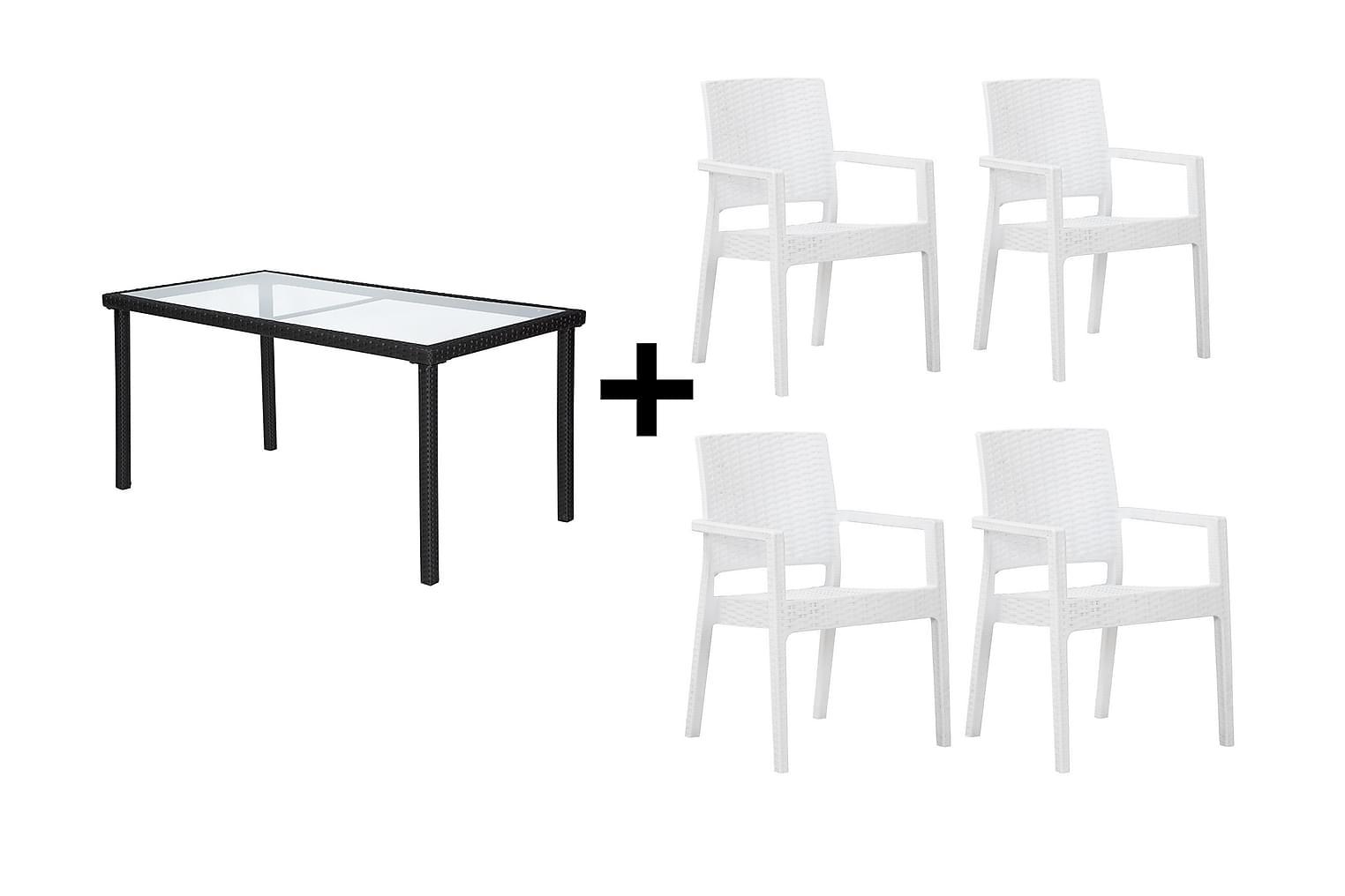 JULITA Pöytä 150 Musta + 4 LEORA Karmituolia Valkoinen