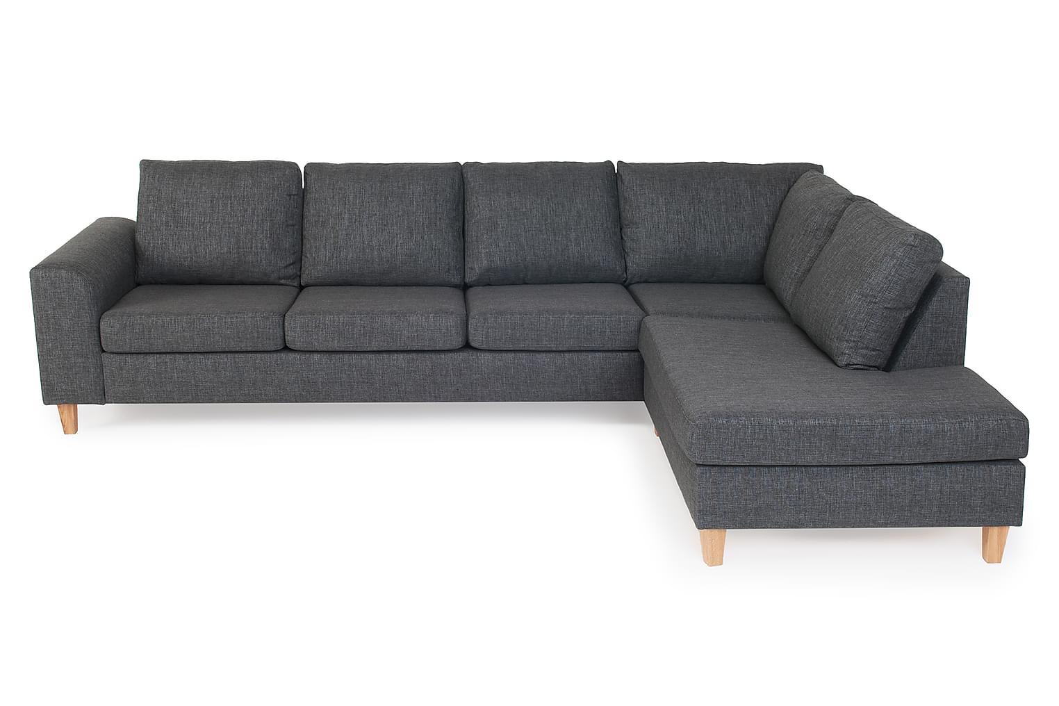 TORIN L-sohva Oikea Harmaa/Tammi