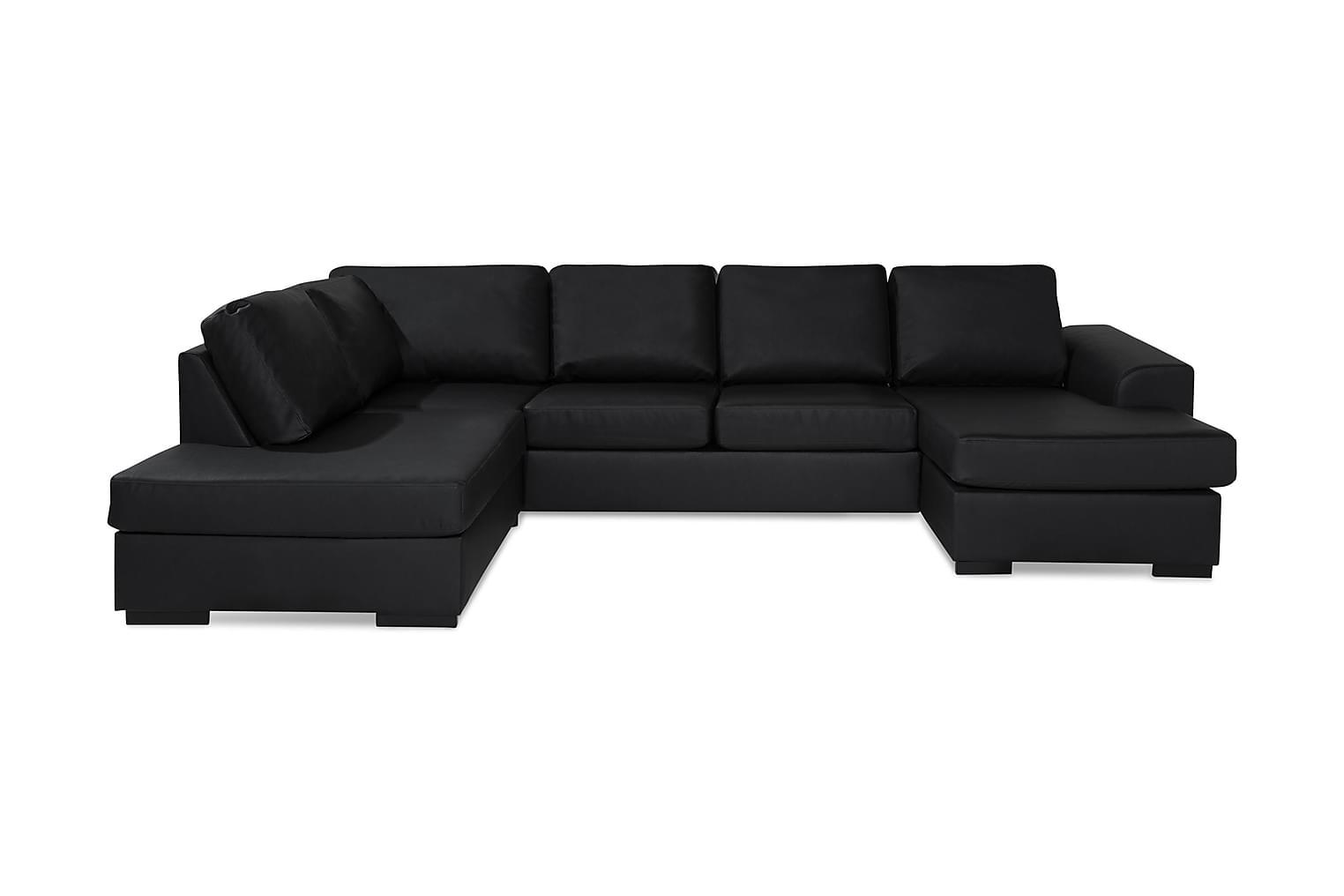 NASHVILLE Large U-sohva Vasen Bonded leather Musta