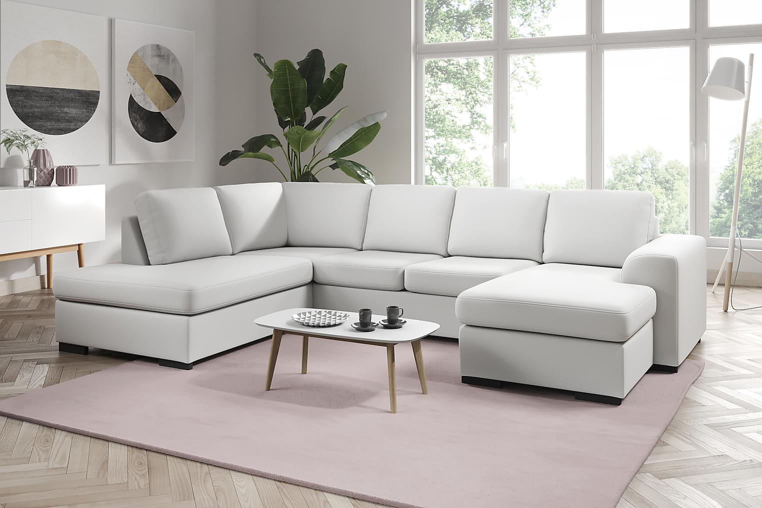 NASHVILLE Large U-sohva Vasen Bonded leather Valkoinen