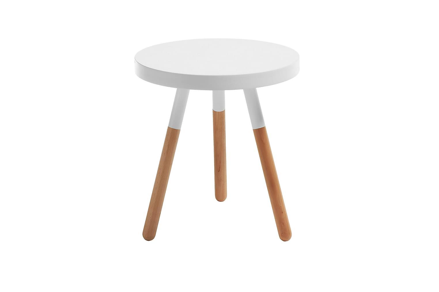 MAGIONE Sivupöytä 48 Valkoinen/Luonnonväri