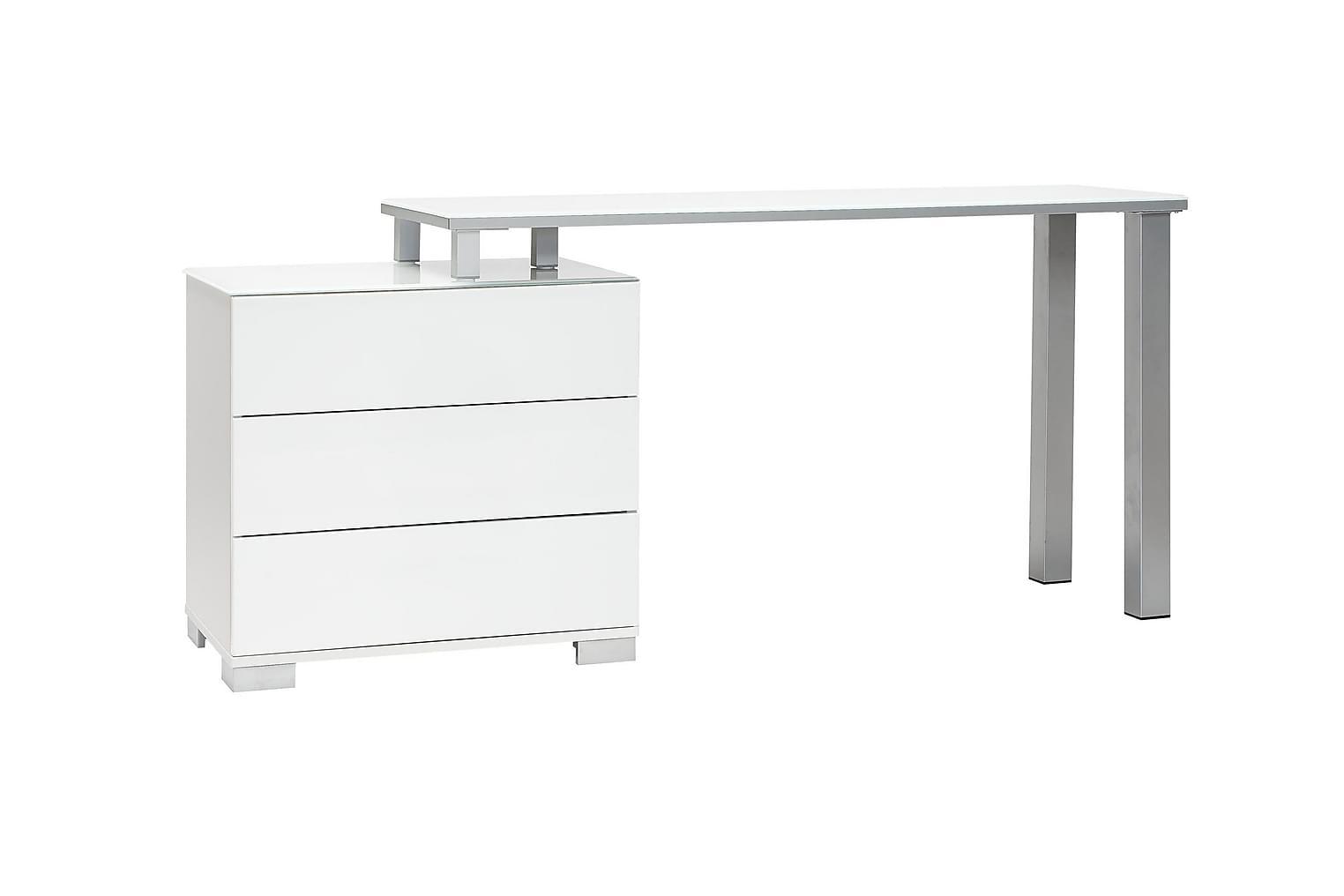 FJORD Kirjoituspöytä laatikostolla 135 PO Valkoinen