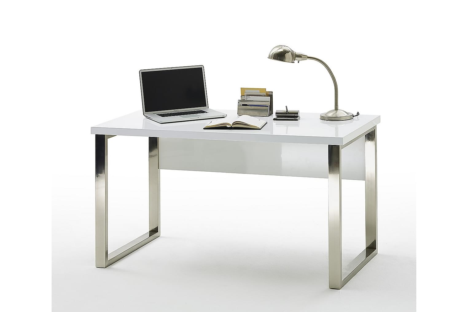 NERETO Kirjoituspöytä Valkoinen Korkeakiilto