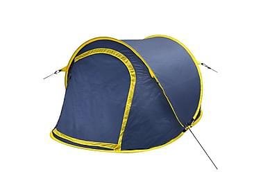 Pop-up campingtält för 2 personer marinblått / gult