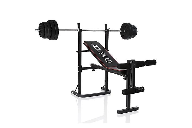 Träningsbänk Gymstick Weight Bench med 40 kg Set - Svart - Sport & fritid - Hemmagym - Träningsredskap